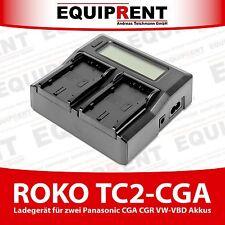 ROKO TC2-CGA Doppel Ladegerät für Panasonic CGA-D54 CGR VW-VBD58 Akku (EQE71)