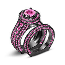 Buy Online!! Round Pink CZ Engagement & Wedding Bridal Ring Set in .925 Silver