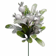 Christmas Glittery Mistletoe Stem Green And White