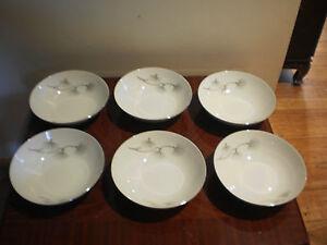 SET OF 6 VINTAGE JAPANESE NAGOYA CHINA PORCELAIN SOUP BOWLS