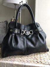 Adrienne Vittadini black genuine leather handbag tote bag