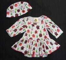 Barn Organics Baby Girls White Bear Skirted Romper & Hat Size 12 Months