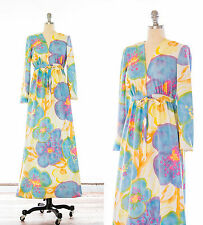 Vintage 60s Goldworm Abstract Watercolor Floral Empire Waist Maxi Dress