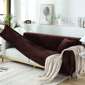 Universal 1/2/3/4/5 Seater Thick Plush Velvet Couch Stretch Sofa Cover Slipcover