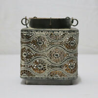 Antique Wrought Iron Candle Lantern Hanging Candle Holder Home Decor #3