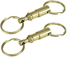 2 PCS PULL APART METAL KEY CHAIN WITH QUICK-RELEASE CLIP RING HOLDER BRASS COLOR