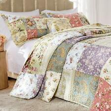 Beautiful Cozy Xx Large Sage Green Pink Red Blue Rose Bedspread Quilt Set King