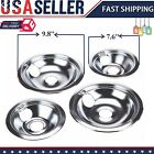 4 GE Hotpoint Chrome Stove Drip Pans Electric Burner Covers Top Replacement Set  photo