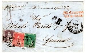 Tuscany 1858 Folded Enveope to Genoa - Via Di Mare