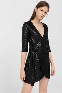 Mango Dress Wedding Party Fashion Sequinned Black Stylish Champan Size L