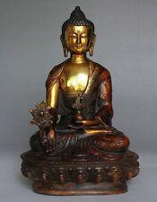 """8""""Old Tibetan Brass Buddhism Bodhisattva Sakyamuni Buddha Statue"""