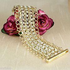 B3 Chapado En Oro Con Cadena Y Cristales Magnético broche brazalete pulsera 18cm 7inches