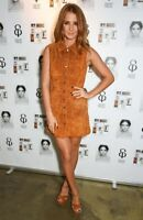 Millie Mackintosh Mini Real Leather Suede Dress in Tan Sizes 6 to 14