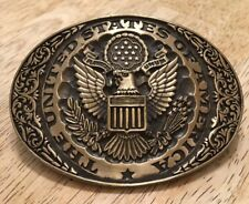 Vintage ADM United States of America USA Oval Brass Belt Buckle // Made in USA