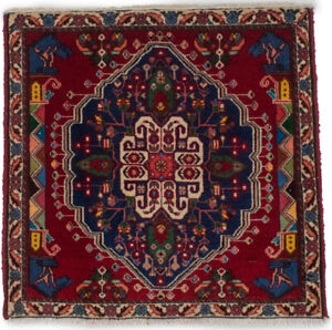 Equestrian Design Tribal Small 2X2 Square Hand-Knotted Oriental Rug Wool Carpet
