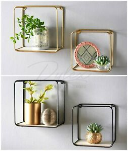 Metal Wire Floating Wall Shelf Multi Section Tromso Home Decor Set of 2