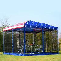 10x10 EZ Pop Up Party Wedding Tent Patio Gazebo Canopy Outdoor Mesh US Flag Bag