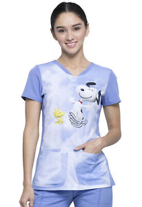 Snoopy Cherokee Scrubs Tooniforms Peanuts V Neck Top TF721 PNKY