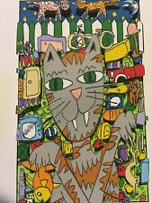 "James Rizzi: original 3D, ""BIG DOG BIG CAT"", FUNNY FACES, handsigniert, 1997"
