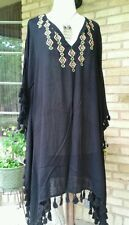 Fasion fuse casual black poncho tunic V- neck with embroidery medium 100% rayon