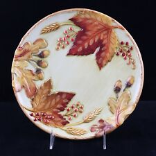 Fitz and Floyd Harvest Pattern Canape Plate 9.5 Inches Autumn Fall Leaves Acorns