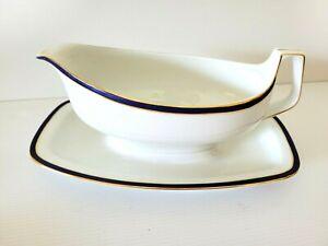 EAMAG SCHONWALD BAVARIA  Blue & Gold on White Antique Gravy Boat & Side Dishes