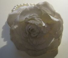 Hair band Jewellery with white fabric flower and faux pearl elasticated bands