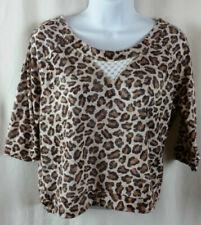 Delias Womens Large Crop Top Shirt Animal Print Hi Low Scoop Neck Soft Fabric