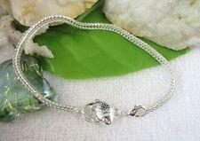 2 PCS Silver Plate Fish Clasp Bracelet 19cm E5170