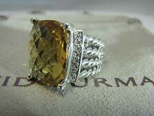 DAVID YURMAN AUTHENTIC SILVER 16x12MM CITRINE WHEATON PAVE DIAMOND RING SIZE 6