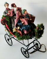 Vintage Traditions Fabric Mache Caroling Family In Carriage Centerpiece Display