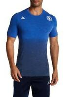 ADIDAS Boston Marathon Primeknit Running Tee Wool Blend Blue BK5358 Mens $85 New