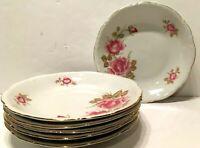 "Vintage 6 MITTERTEICH Bavaria JUNE ROSE Set of SIX 8"" Coupe Soup Bowls"