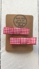 Red Gingham Small Bow Hair Clips School Uniform Hair Accessory