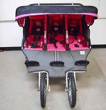 BebeLove 475 EVO-TS Triple Baby Jogging Stroller Pink Unisex
