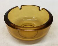 Vintage Mid Century Round Amber Glass Ashtray MCM