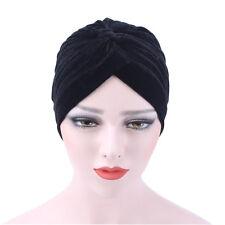 Womens Velvet Muslim Ruffle Cancer Chemo Hat Beanie Scarf Turban Head Wrap Caps