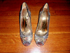 GUESS by MARCIANO Black Brown Taupe Python Print Leather Open-toe Pumps 9 M