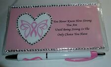 Pink Ribbon Awareness Heart with Butterfly Checkbook Cover With Free Pen