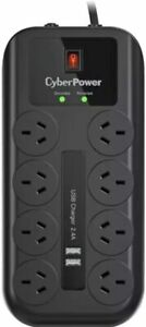 CyberPower 8 Way Outlet Surge Protector Power Board iPhone Charger USB Ports