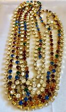 VTG lot of 2  Rhinestone Clear & Multi color Tennis Link Necklace sting sew on