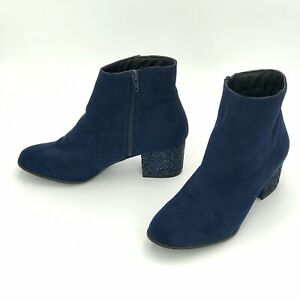Atmosphere Blue Suede Ankle Boots Size UK 5 EUR 38 Glitter Heels