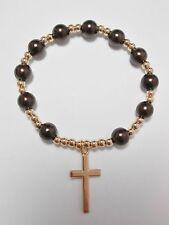 Coffee Brown & Gold Stretch Bead Rosary Bracelet Catholic Communion Confirmation