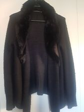 Portmans black cardigan, faux fur trim collar, size S