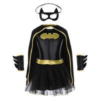 Halloween Costumes Superhero Girls Dress Children Batgirl Batman Party Cosplay