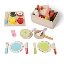 Keezi 29pc Kitchen Wooden Kids Play Set Vegetables Fruit Cutting Toy Utensils