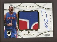 2012-13 Immaculate Andre Drummond RPA RC Rookie 3-Color Patch AUTO 39/75