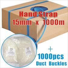 15mm x 1000m Hand Poly Strap Strapping Breakload Polypropylene + Duct Buckles