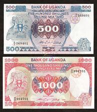 UGANDA 500 1000 Shillings Set 2 PCS 1986 P-25 26 UNC Uncirculated