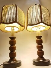 2 Vintage  MCM  Lamps, 2 Styles of Shades,  Wooden Bases, Bedroom, Table, Kitch